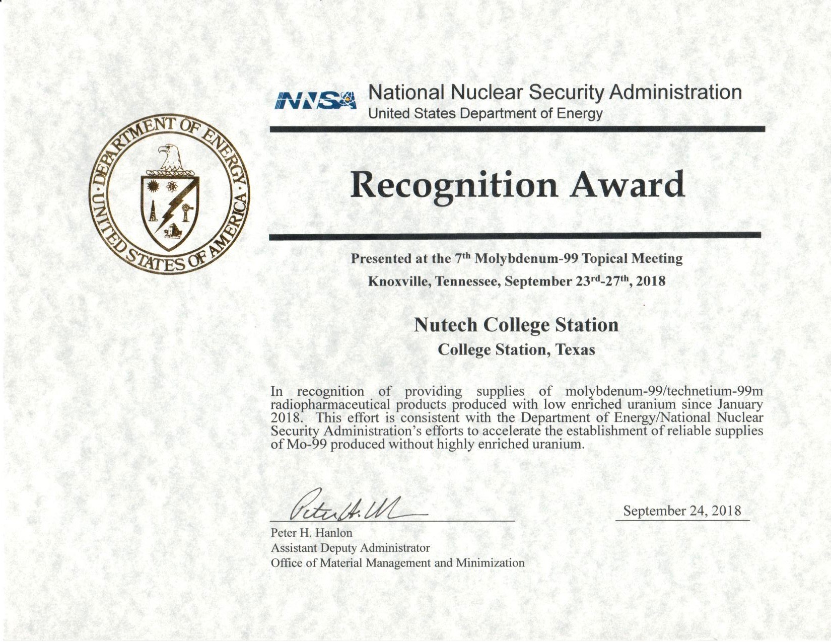College Station award certificate